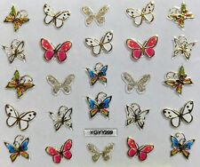 Nail Art 3D Decal Stickers Gold Butterflies White Butterfly w/ Gold Dots YGYY209