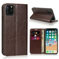 iPhone 11+Pro+Max Genuine Real Leather Wallet Case Protector Cover 3 Card Holder