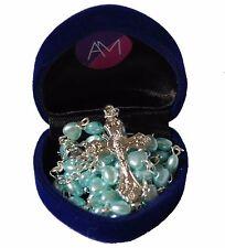 Boys My First Rosary Baby Blue Heart Rosary Beads In Navy Velvet Heart Gift Box