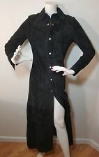 BEBE XS Black Long Leather Suede Coat Jacket Trench High Slit Bodycon Cosplay