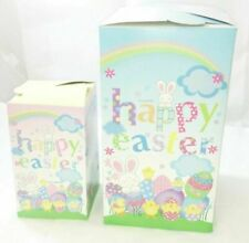 2 Cute Instant Easter Party Gift Treat Boxes Ribbon Egg Hunts Loot Children Bag