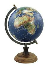 Globe Antique Style with Foot Wooden, Iron, Brass H 32 cm Blue