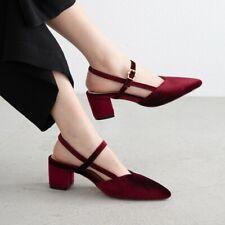 Womens Trendy Elegant Pointy Toe Slingbacks Mid Heels Sandals Velvet Shoes Size