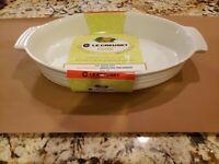 "NEW LE CREUSET FRANCE 36cm White Oval Baking Dish Au Gratin 14"" LONG"