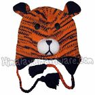 Knit Wool Tiger Ear Flap Hat: beanie winter animal cat stripe youth girls adult