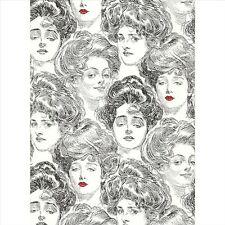 WALLPAPER BY THE YARD BV2419 SS2419 Pucker Up Butter Cup Black White Gibson Girl
