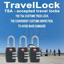 3 X TSA Security 3 Combination Travel Suitcase Luggage Bag Code Lock Padlock New