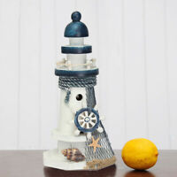 US Mediterranean Wooden Light House Tower Nautical Starfish Shell Lifebuoy Decor