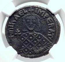 Michael Iii the Drunkard & Basil I Ancient Byzantine Follis Coin Ngc i80957