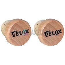 Velox PAIR of 'Wine Cork' & Wooden Push In Bicycle Handlebar End Plugs
