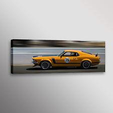 "1970 Ford Boss 302 Mustang Racecar Car Photo Wall Art Canvas Print 12""x36"""