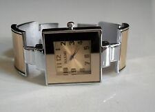 Designer inspired style silver & gold finish women's fashion cuff bangle watch