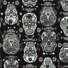Glow In The Dark Folk Skulls Cotton Fabric Timeless Treasures By The Half Metre