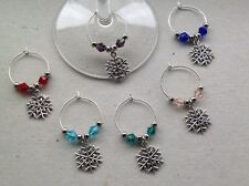 Handmade Set of 6, 8 or 10 Christmas Snowflake Wine Glass Charms, Party, gift.