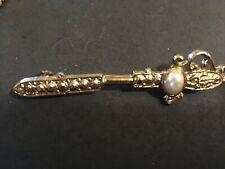 pearl sword brooch vintage estate faux