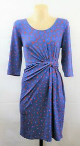 Leona Edmiston Ladies Blue Knot Dress Work Cocktail Stretch Design | Size 10 S