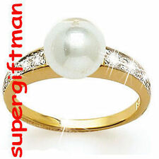 X016 - BAGUE OR DA / ring goud PERLE DIAMANTS CZ T60