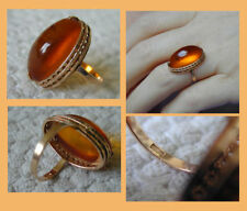 Russian Soviet Ring Rose Pink Gold Large AMBER stone color Cognac 583 sz 5.5
