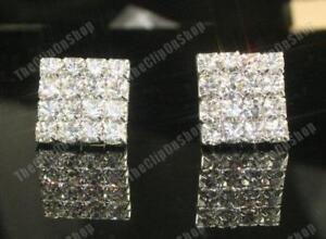 CLIP ON 1.5cm SQUARE diamante RHINESTONE CRYSTAL EARRINGS