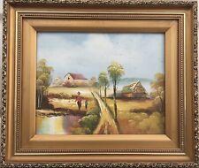 Ölgemälde Landschaft mit Personen Antik Stil Bilderrahmen 30 x 35 cm