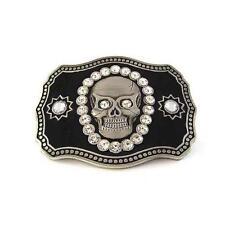 Halloween Pirate Skull Skeleton Motorcycle Rhinestones Metal Men Belt Buckle