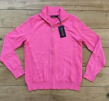 $298 Polo Golf Ralph Lauren Knit Zip Sweater Cardigan Cashmere NWT Pink Small S