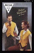 """1950's Bestway B2435 Knitting Pattern Unisex Waistcoats Vest  B 34-35"""" WWII PDF"""