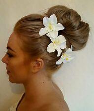 3 Ivory Cymbidium Orchid Flowers Hair Grips Wedding Hair Bride Maid Flower Girl