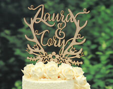Personalized Wedding Cake Topper Rustic Laser Cut Wood Custom Cake Topper #107