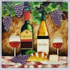 More details for vintage ceramic tile embossed large wine bar grapes dining wine mancave retro