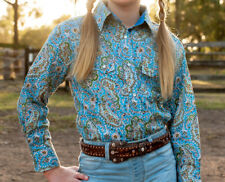 GIRLS BRIGALOW L/S PAISLEY SHIRT BINNAWAY BLUE 100% COTTON SIZES 2 -14 A/V