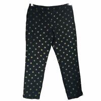 RSVP Talbots Chatham Black Metallic Gold Polka Dot Crop Ankle Pants Lined 8P