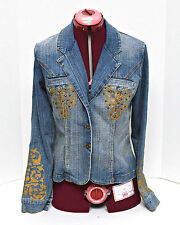 Women's Jean Jacket Size Large Blue Distressed Denim by Boom Boom Jeans