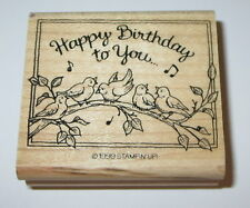 Happy Birthday To You Rubber Stamp Birds Music Notes Stampin Up Branch #2