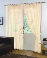 Pair of  Voile Net Panels TAB TOP  Curtains + Free Tie Backs