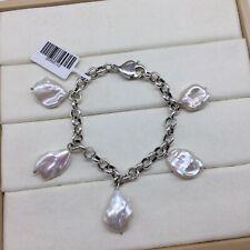 white baroque freshwater pearl ssilver 925 fancy bracelet
