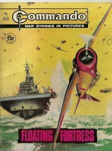 FLOATING FORTRESS,COMMANDO WAR STORIES IN PICTURES,NO.855,WAR COMIC,1974