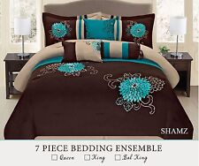 Brown Turquoise western style 7 Pcs embroidery Comforter Set
