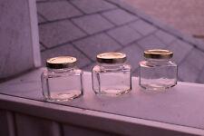 12pk 110ml Hex Canning Jar (Small, Mini, Jelly) + Gold Lids