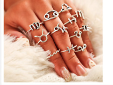 Zodiac Signs,Color Silver Boho Style Vintage Constellation Rings Set,Alloy Metal