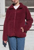 brandy melville oversize burgundy willow shearling jacket NWT sz S/M