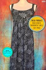 NEW Size S Maxi Smocked Sun Dress Impromptu Gray Black Indian Print Empire Waist