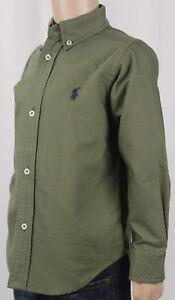 Ralph Lauren Kids Olive Green Dress Shirt Navy Blue Pony NWT