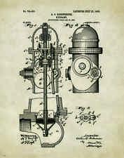 Fire Hydrant Patent Poster Art Print Fireman Antique Firefighting Badge   PAT225