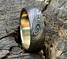 Damascus Steel Ring HANDMADE 8mm with Brass Inlay Liner ALL SIZES AVAILABLE