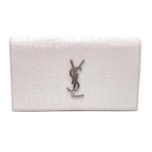 Saint Laurent Monogram Kate Calfskin Crocodile Embossed White Leather Clutch