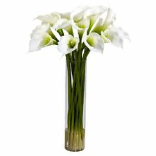 Nearly Natural 1251-CR Calla Lilly with Cylinder Silk Flower Arrangement- Cream