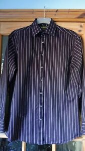 Ted Baker Endurance Men's shirt, Black with Lilac Stripe, Size 16.5