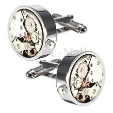 Steampunk Vintage Mens Cufflinks Watch Movement Wedding Silver Cuff Links Gift