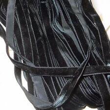 """1y 3/8"""" VTG FRENCH BLACK VELVET RIBBON TRIM BOHO CHOKER DOLL DRESS ROSETTE ROCO"""